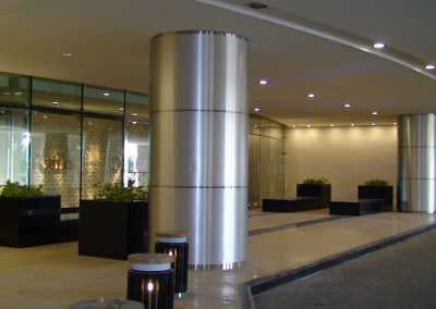 RAFFLES HOTEL, DUBAI – BALLROOM ENTRANCE COLUMN CLADDING / DECORATIVE BOLLARDS